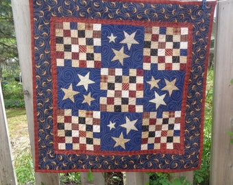 Patriotic Cream Stars Quilt 37  inch, Americana  Quilt 0510-03