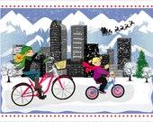 DENVER skyline - Custom Illustrated Christmas Card - Holiday Card - Hannukah Card - DIY Printable - Print Option Available