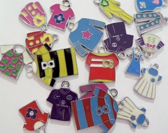 Bulk 20CT Silver Toned Variety Package of Enamel T-Shirt Charms, Y31