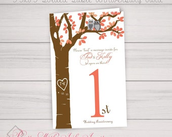 Table Number Anniversary Book Card and Thank You Napkin Card Set