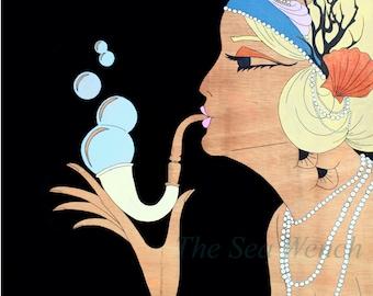 Daisy Art Print 12x12 / Wall Art / Birthday Gift / Bridal Shower Gift / Bedroom Decor / Gifts for Her / Art Deco / Mermaid Art