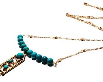 Turquoise Necklace, Boho Necklace, Layering Necklace