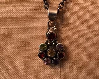 Multi Gemstone Pendant Necklace - Sterling Silver Oxidized - Leather - Garnet gems - Artisan Sundance Style Jewelry