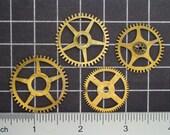 Mixed Lot of 4 Brass Clock Gears, Antique Clock Mechanism Gears, Vintage Clockwork Wheels, Cogs Steampunk Art Supplies 03980
