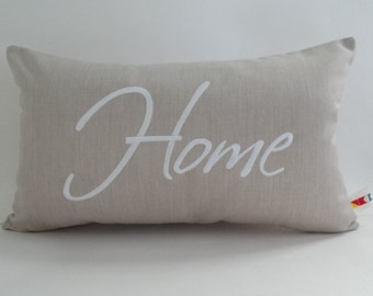 """HOME pillow cover sunbrella indoor outdoor 12"""" x 20"""" embroidered custom canvas coastal personalized decorative throw accent OBA Canvas Co."""