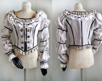 Vintage Medieval renaissance Top Fantasy Clothing FOLK Top peasant Long sleeve linen Cotton Lace Corset Bodice Pirate Top
