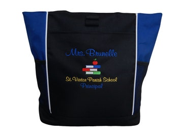 Tote Bag Personalized Teacher Aide Assistant Librarian Reading Specialist Teaching Stacked Books Apple Student Book Bag
