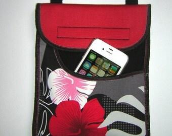 Sling Bag fits cellphone and eyeglass small crossbody bag, gadget case Passport Purse mini travel pocket mixed fabrics Black Red Gray floral
