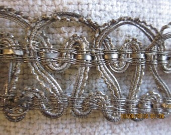 Stunning FrenchSilver Victorian Weighty Ombre Metal Wire  and Silk Lace