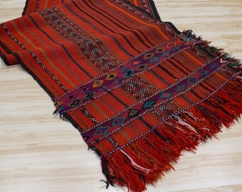 Moroccan Runner Rug / Tribal Textile or Wall Hanging, Red Boho Decor