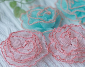 "20pcs 6.5cm 2.55"" wide pink/blue ruffled tulle appliques patches vve4 free ship"