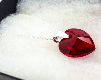 Red Swarovski Heart Pendant and Silver Necklace