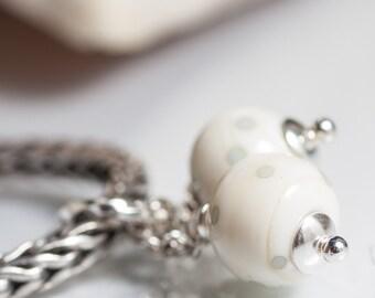 GlassBonBon  Dangle SRA Lampwork Bead fits all kinds of european charm bracelets BHB sterling silver