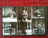 MATURE... Gothic Fetish... Up-Cycled Victorian Cabinet Card... Original Mixed Media Erotic Art