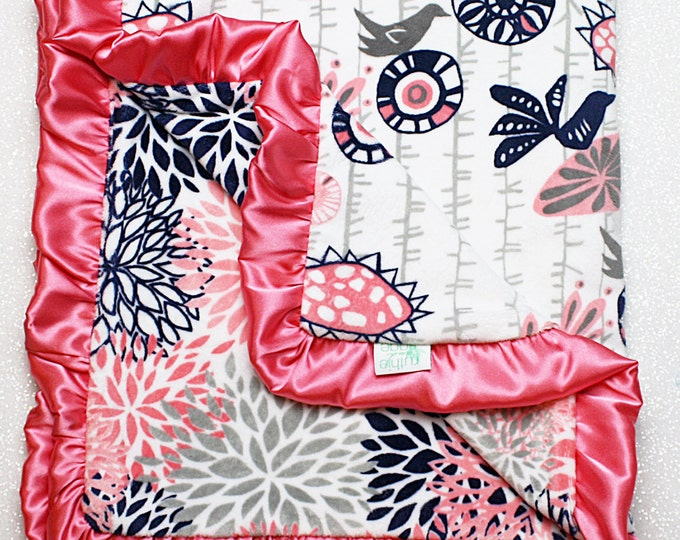 Minky blanket, Baby girl, coral and navy, ruffle blanket, Floral Blanket, Elegant blanket, soft blanket, bird print, menagerie cuddle, satin