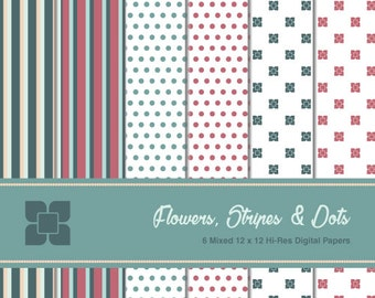 Flowers Stripes And Dots Digital Scrapbooking Paper