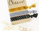 Cheers Greeting Card and Hair Tie Gift Set party favor birthday new year celebrate best friend bachelorette bridal shower 2016 gift for her