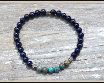 Blue Fossil Stone Bracelet, Blue Jasper Bracelet, Men's Navy Blue Bracelet, Men's 6mm Bead Bracelet, Men's Blue Stretch Bracelet