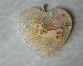Unicorn Glitter Heart Pendant Necklace