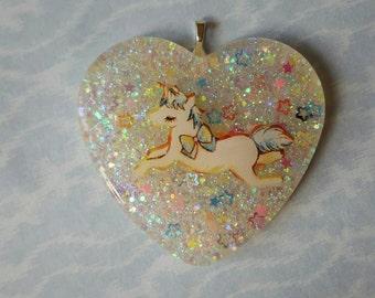 SALE Unicorn Glitter Heart Pendant Necklace