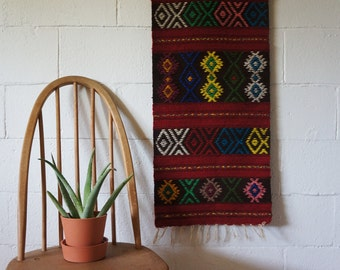Vintage Woven Wall Hanging, Macrame, Red, Brown, Green