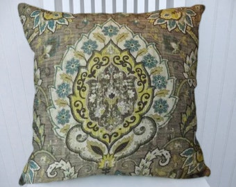 Grey Gold Blue Pillow Cover- Decorative Throw Pillow Cover, Floral-18x18 or 20x20 or 22x22- Accent Pillow