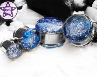 "Subspace Galaxy Plug / Gauge Silver Blue Iridescent Colour Flash 1/2"", 9/16"", 5/8"", 11/16"" / 12mm, 13mm, 14mm, 16mm, 18mm"