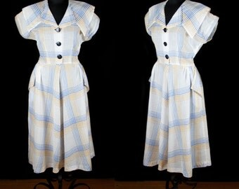 1950s Dress // Blue and Yellow Plaid Cotton Day Dress by Toni Todd