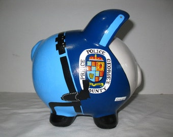 "Personalized Piggy Bank, Police Officer ""Pigs"" Piggy Bank - Large - MADE TO ORDER"