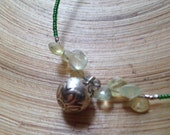 Green lotus bell necklace with prehnite briolettes and fine silver Hill Tribe fine silver chime