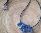 "Kyanite necklace with peacock blue glass beads // tiny bead necklace/ zen necklace blue crystal necklace 18"" ready to ship"