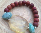 Mala bracelet with rosewood and pineapple quartz crystal focal amazonite stretch stacking bracelet