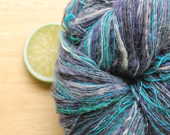 Marina - Handspun Alpaca Merino Wool Yarn Sparkle Teal Blue