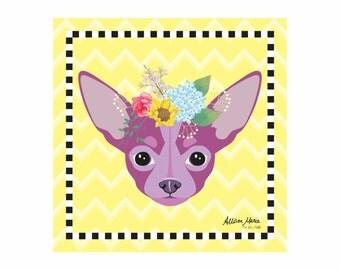Chihuahua Pet Portrait Art Print Illustration Wrapped Canvas 12x12x.75