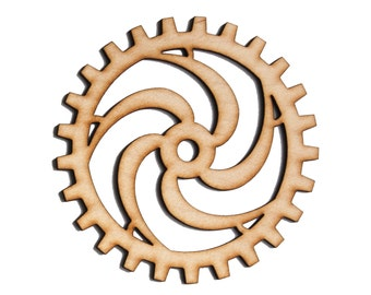 Plywood SteamPunk Gears, Craft Gears, Wood Gears, Laser Cut - 1x 4 Inch (10.16cm) - Spiral Design-