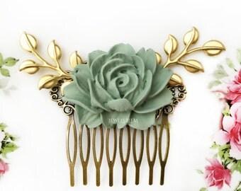 Sage Green Wedding Bridal Hair Comb Hair Slide Bridesmaids Gift Soft Muted Pigeon Gray Green Woodland Flower Headpiece Romantic Elegant