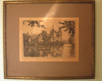 Mid Century Signed Original Lithograph of French or Swiss Chateau on Lake ~ matted & framed