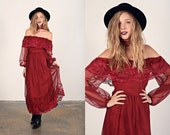 Vintage 70s Bohemian Dress Wine Red Lace Gunne Sax Boho Dress