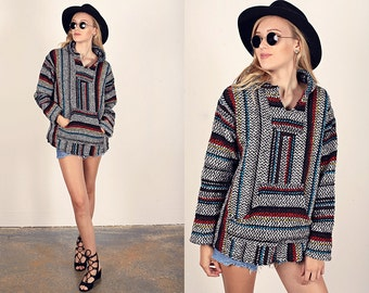 Vintage 80s Knit Hoodie Mexican Sweater Print South Western