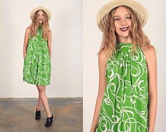 Vintage 60s Tent Dress Apple Green Mod Graphic Print Dress