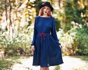 80s Pleated Dress Vintage Dark Blue Long Sleeve Midi Day Dress
