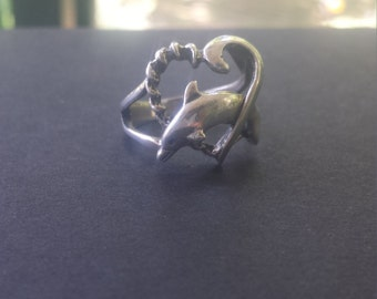 Sterling Silver Dolphin Heart Ring