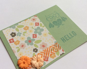 Hello Card, Just Because Card, Thinking of You Card, Owl Card, Nerdy Card, Handstamped Card, Handmade Card