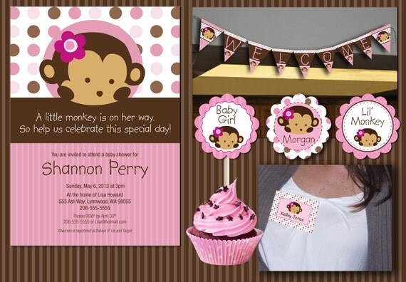 instant download pink monkey baby shower essentials printables