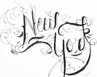 New York Hand Drawn Typography card -- blank - for any occasion