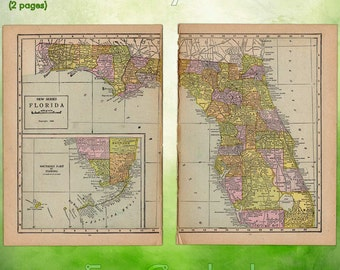 Vintage Atlas Map of 1920 Florida Antique Map full color Inches World Atlas Paper Ephemera Historical Geography Approx 10 x 14.5 WR222