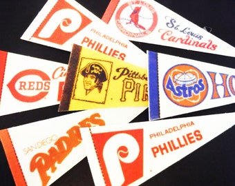 Vintage baseball pennants mini pennant 1980's, instant collection, frameable, pirates, houston, padres,cardinals ,Phillies, reds