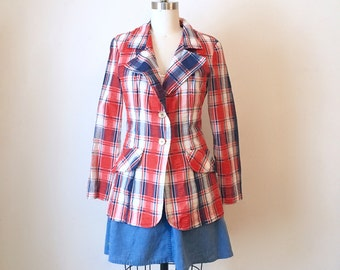 SALE Vintage Women's Red, White and Blue Plaid Blazer