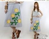Vintage 70s Floral Applique Wrap Skirt S M L Novelty Print Skirt High Waisted Skirt High Waist Skirt 70s Wrap Skirt Hippie Skirt Hippy Skirt