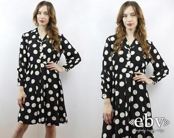 Vintage 90s Black + White Polka Dot Mini Dress XS S Polka Dot Dress Day Dress Work Dress 90s Babydoll Dress Longsleeve Dress Black Dress